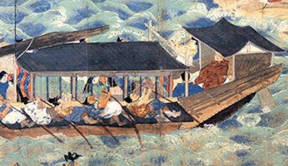 Kitano Tenjin scroll painting boat